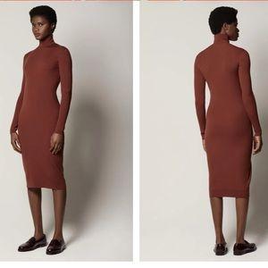Body Con Sweater Turtleneck Long Sleeve Midi Dress
